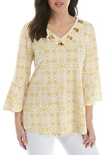 New Directions® 3/4 Sleeve Puff Print Swing Top