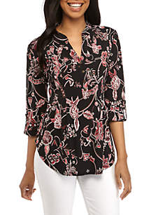 New Directions® 3/4 Sleeve Floral Puff Printed Henley Top