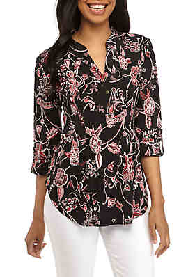 0f8cfec8 New Directions® 3/4 Sleeve Floral Puff Printed Henley Top ...