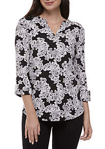 New Directions® Paisley Puff Print Knit Top