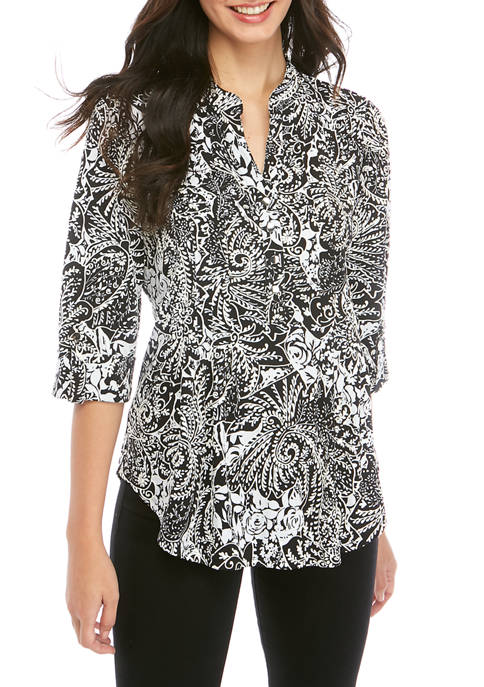 New Directions® Womens 3/4 Roll Tab Sleeve Shirt