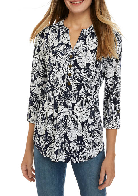 Womens 3/4 Sleeve Palm Leaf Print Blouse