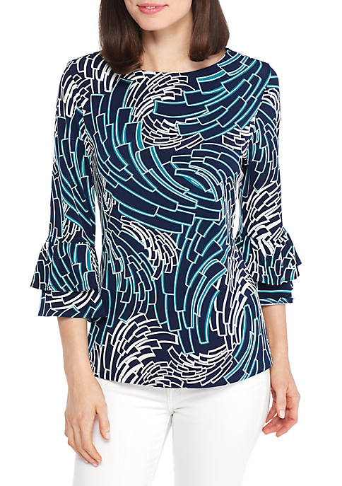 New Directions® 3/4 Double Bell Puff Print Top