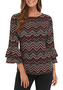 3/4 Sleeve Double Bell Puff Print Top