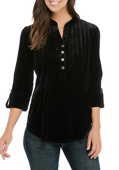 Womens 3/4 Sleeve Velvet Henley Top