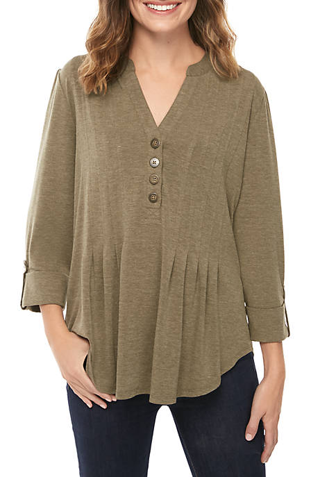 New Directions® 3/4 Solid Knit Henley Top