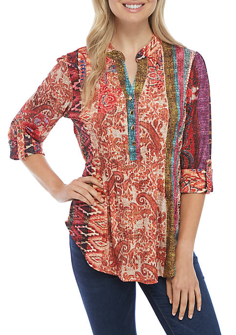 New Directions® 3/4 Sleeve Multi Tribal Stripe Henley