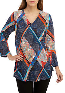 New Directions® 3/4 Cinched Sleeve Print Swing Top