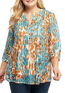 New Directions® Plus Size 3/4 Cinch Sleeve Swing Top