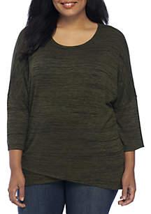 Plus Size Three-Quarter Drop Shoulder Space Dye Hacci Sweater