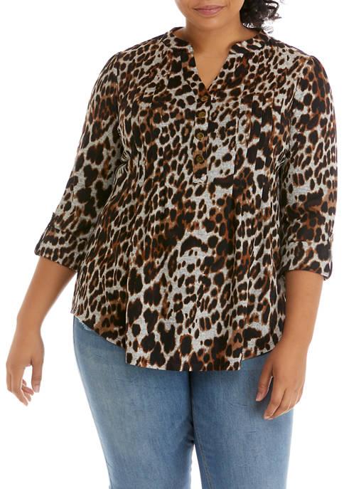Plus Size 3/4 Sleeve Leopard Print Henley Top