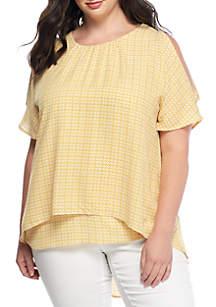 Plus Size Cold Shoulder Printed Blouse