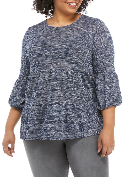 New Directions® Plus Size Puff Sleeve Tiered Knit