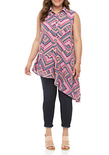 New Directions® Plus Size Sleeveless Printed Asymmetrical Button Down Shirt
