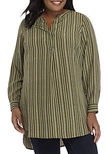 Plus Size Long Sleeve Twill Stripe Top