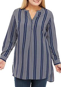 Plus Size Three-Quarter Roll-Sleeve Twill Stripe Tunic