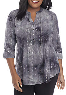 Plus Size 3/4 Roll-Tab Sleeve Henley Top