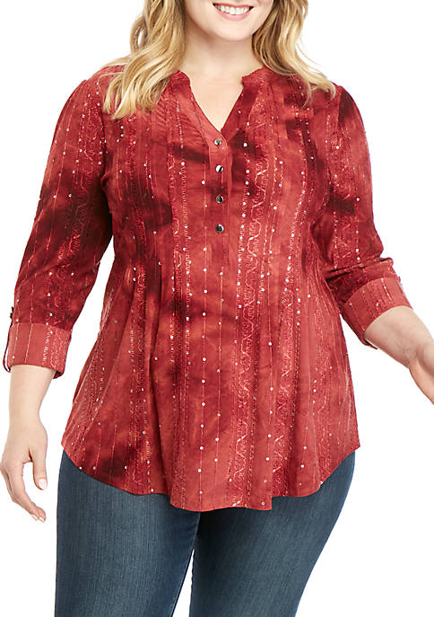 New Directions® Plus Size 3/4 Roll-Tab Sleeve Henley