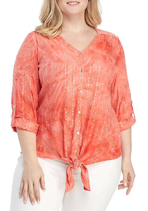 New Directions® Plus Size 3/4 Sleeve Tie Front
