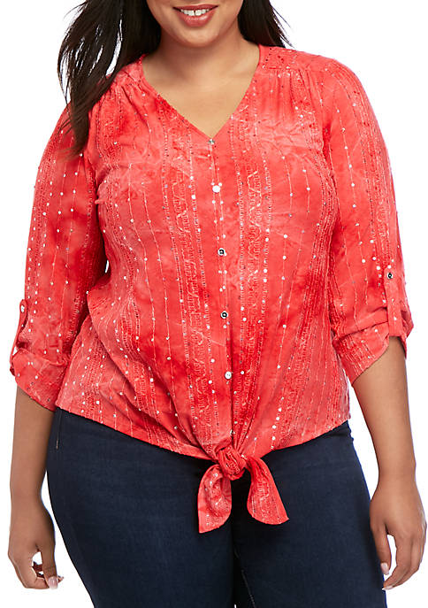 New Directions® Plus Size 3/4 Sleeve Sequin Button