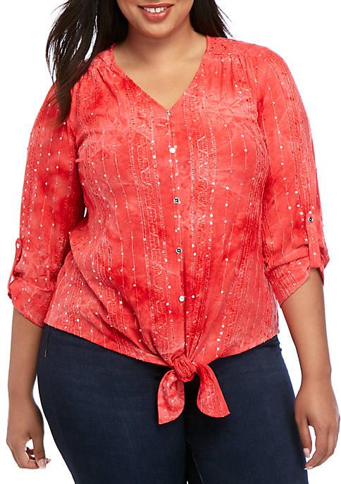 Plus Size 3/4 Sleeve Sequin Button Tie Front Top