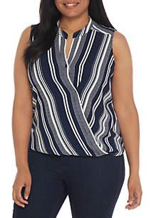 Plus Size Sleeveless Stripe Surplice Woven Top