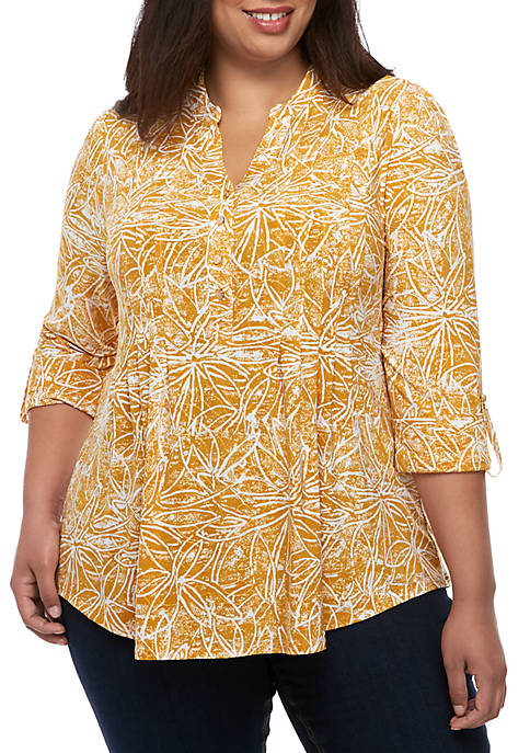 New Directions® Plus Size 3/4 Sleeve Essential Henley