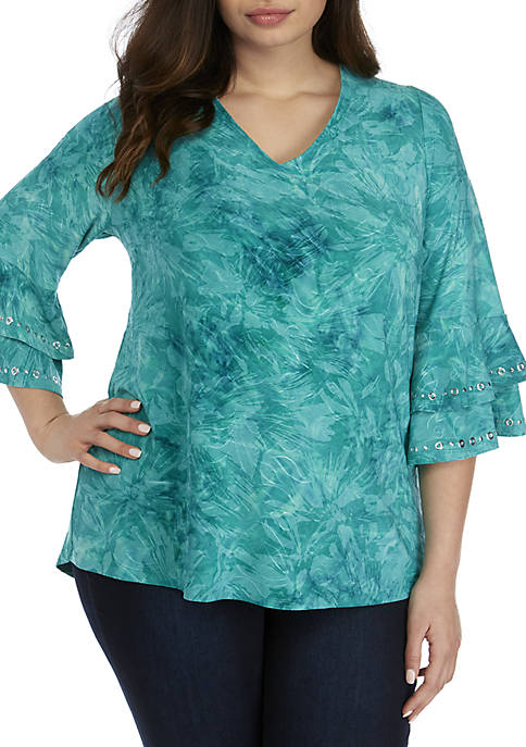 Plus Size 3/4 Double Bell Sleeve Jacquard Top