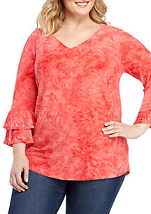 New Directions® Plus Size 3/4 Double Bell Sleeve Jacquard Top