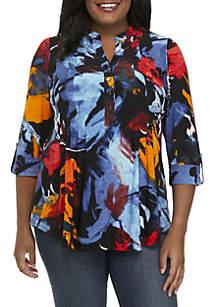 Plus Size 3/4 Sleeve Henley Top