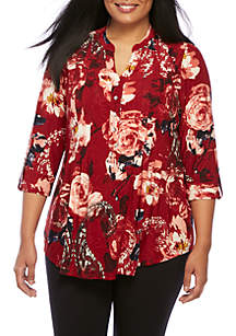 Plus Size High Low Knit Henley Top