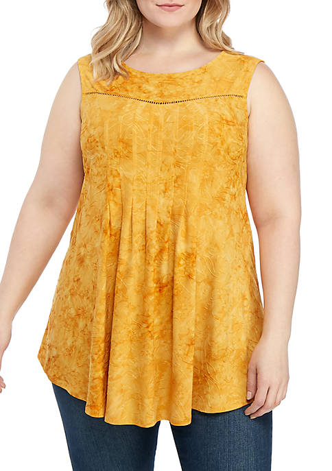New Directions® Plus Size Crochet Solid Knit Top
