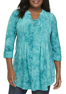 Plus Size Tie Dye Lace-Up Top
