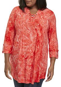 Plus Size Tie Dye Lace-Up Top