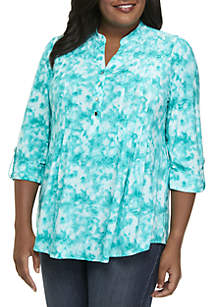 New Directions® Plus Size 3/4 Sleeve Henley Top