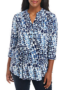 Plus Size Printed Henley Top