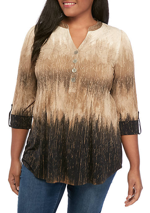 New Directions® Plus Size 3/4 Sleeve Knit Henley