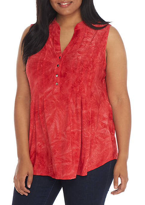 New Directions® Plus Size Henley Top