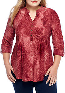 Plus Size Henley Knit Top