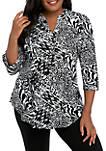Plus Size Knit 3/4 Sleeve Black White Animal Print Top