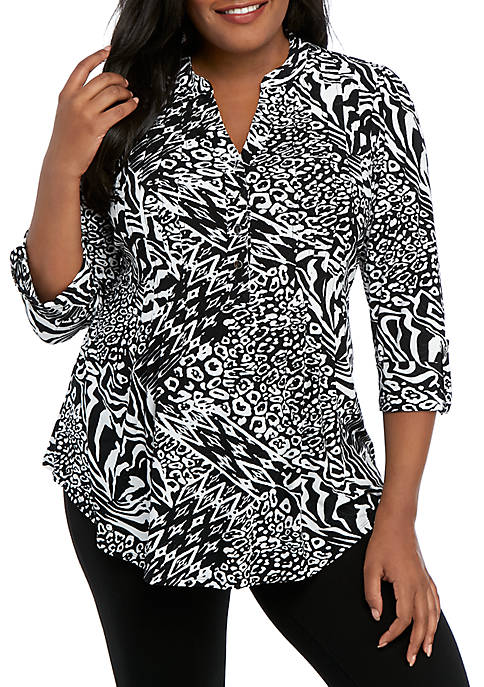 New Directions® Plus Size Knit 3/4 Sleeve Black