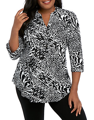 1083d32c54df New Directions®. New Directions® Plus Size Knit 3/4 Sleeve Black White  Animal Print Top