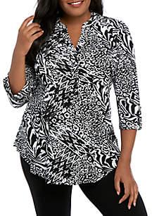 6c2c4e68b9f1 ... New Directions® Plus Size Knit 3/4 Sleeve Black White Animal Print Top