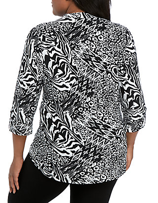 a0fe40a8ee14 ... New Directions® Plus Size Knit 3/4 Sleeve Black White Animal Print Top  ...