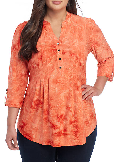 New Directions® Plus Size 3/4 Sleeve Disperse Dye