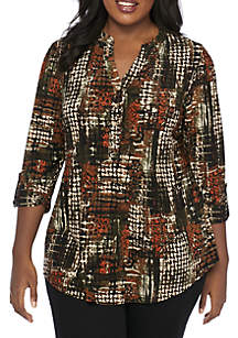 Plus Size 3/4 Sleeve Houndstooth Henley Tunic