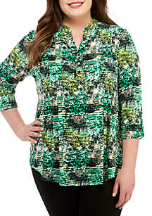 New Directions® Plus Size Abstract Print Henley Knit Top