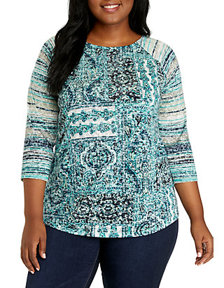 6820bd1ec5d47 New Directions®. New Directions® Plus Size 3/4 Sleeve Mixed Print Tee