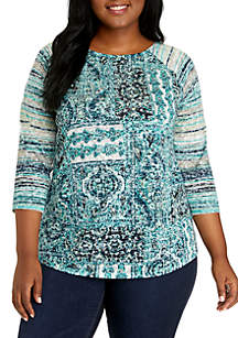 Plus Size 3/4 Sleeve Mixed Print Tee