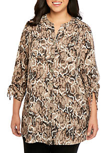 New Directions® Plus Size Polished 3/4 Cinch Sleeve Print Tunic